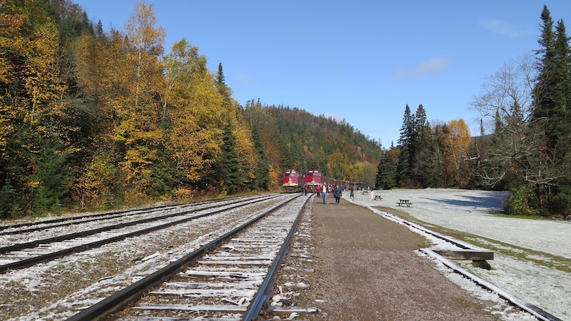 Train arrival at Agawa Canyon Park