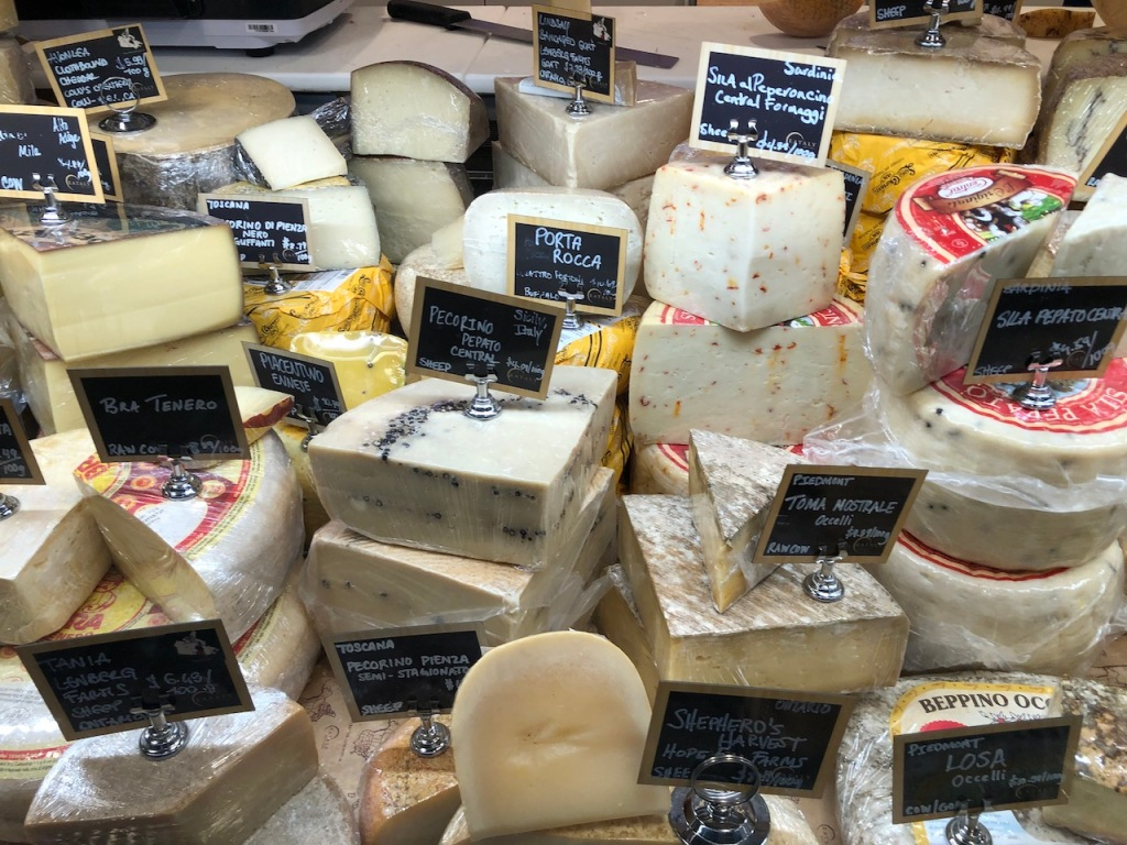 Cheese variety at Eataly Toronto