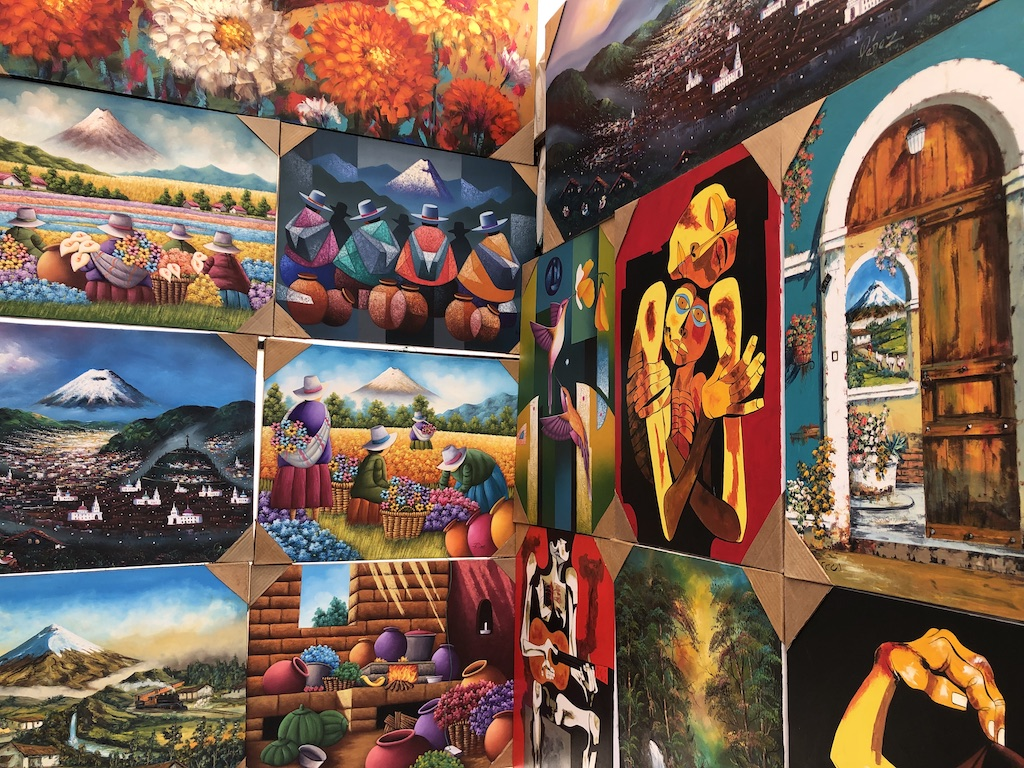 Art for sale at Otavalo market