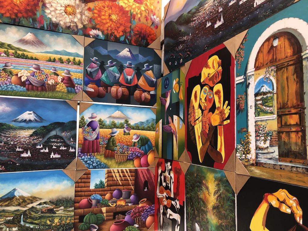 Art for sale at Otavalo market