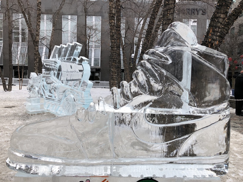 Nike shoe ice sculpture
