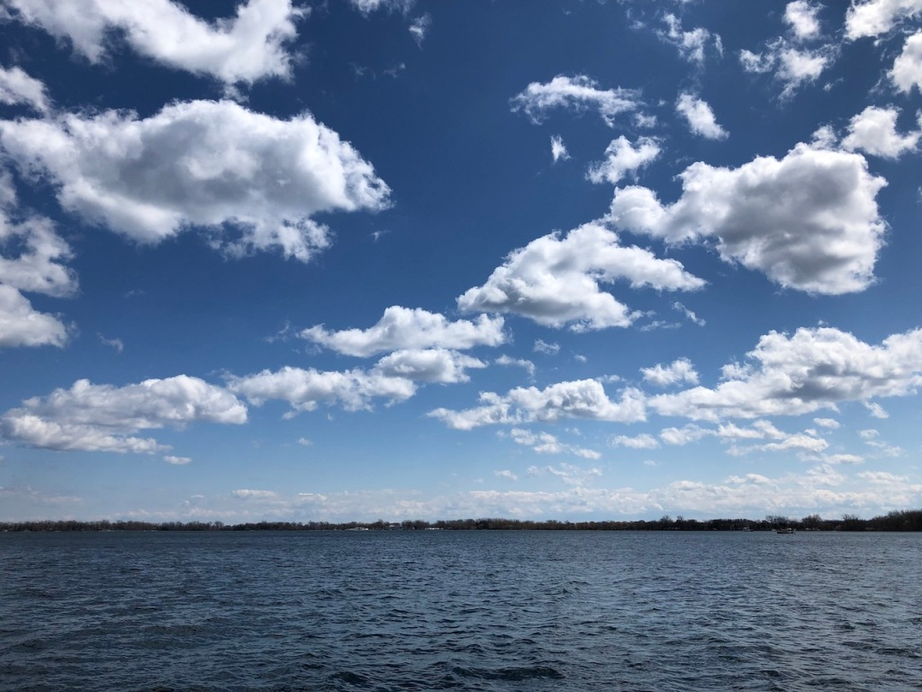 Lake view with white clouds
