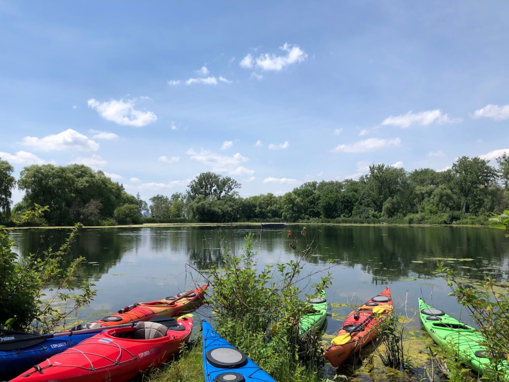 Kayaking around Toronto Islands in summer 2020.