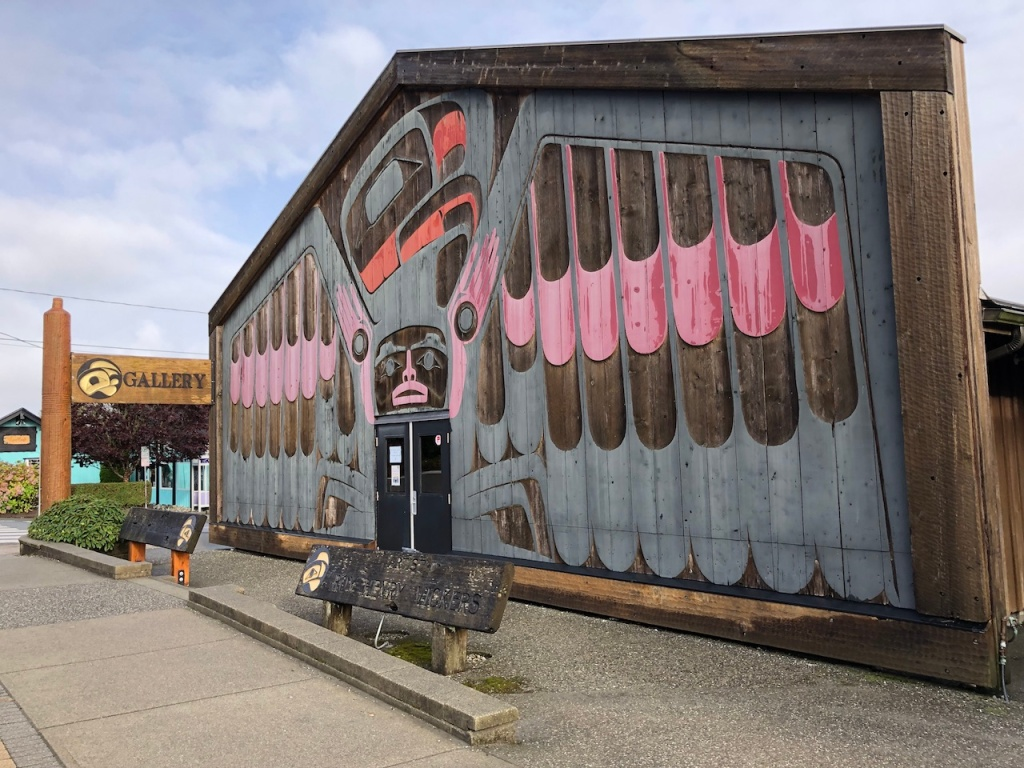 Front entrance of Roy Henry Vickers Gallery in Tofino, BC, Canada.