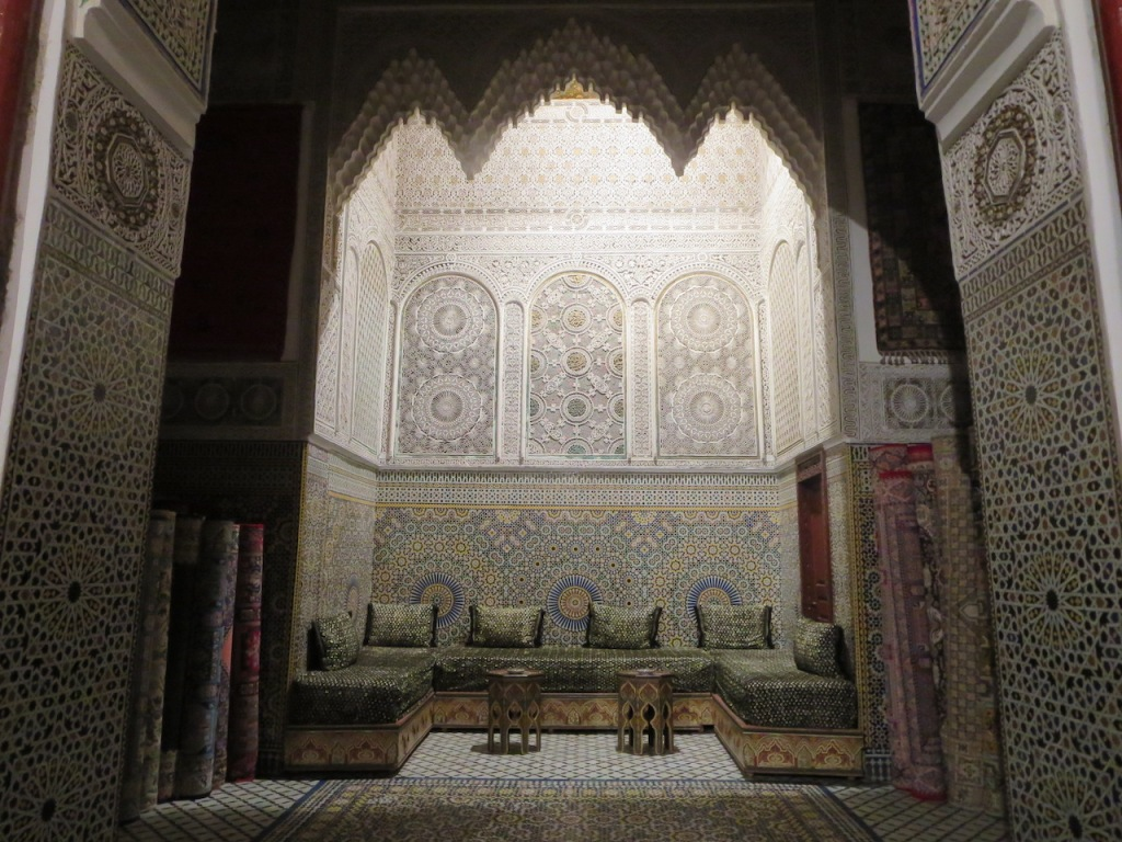A sitting area for tea in a carpet shop in Fez, Morocco.