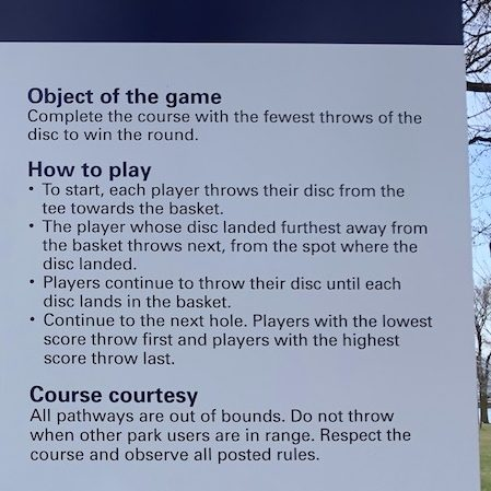 Disc golf instructions.