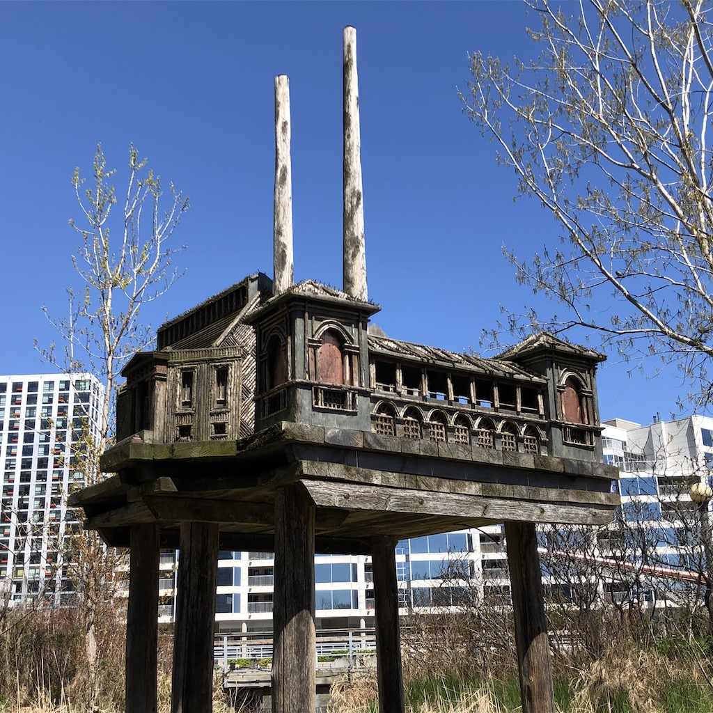 Birdhouse sculpture by Anne Roberts.