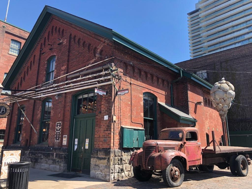 Cafe Balzac's and an art truck.