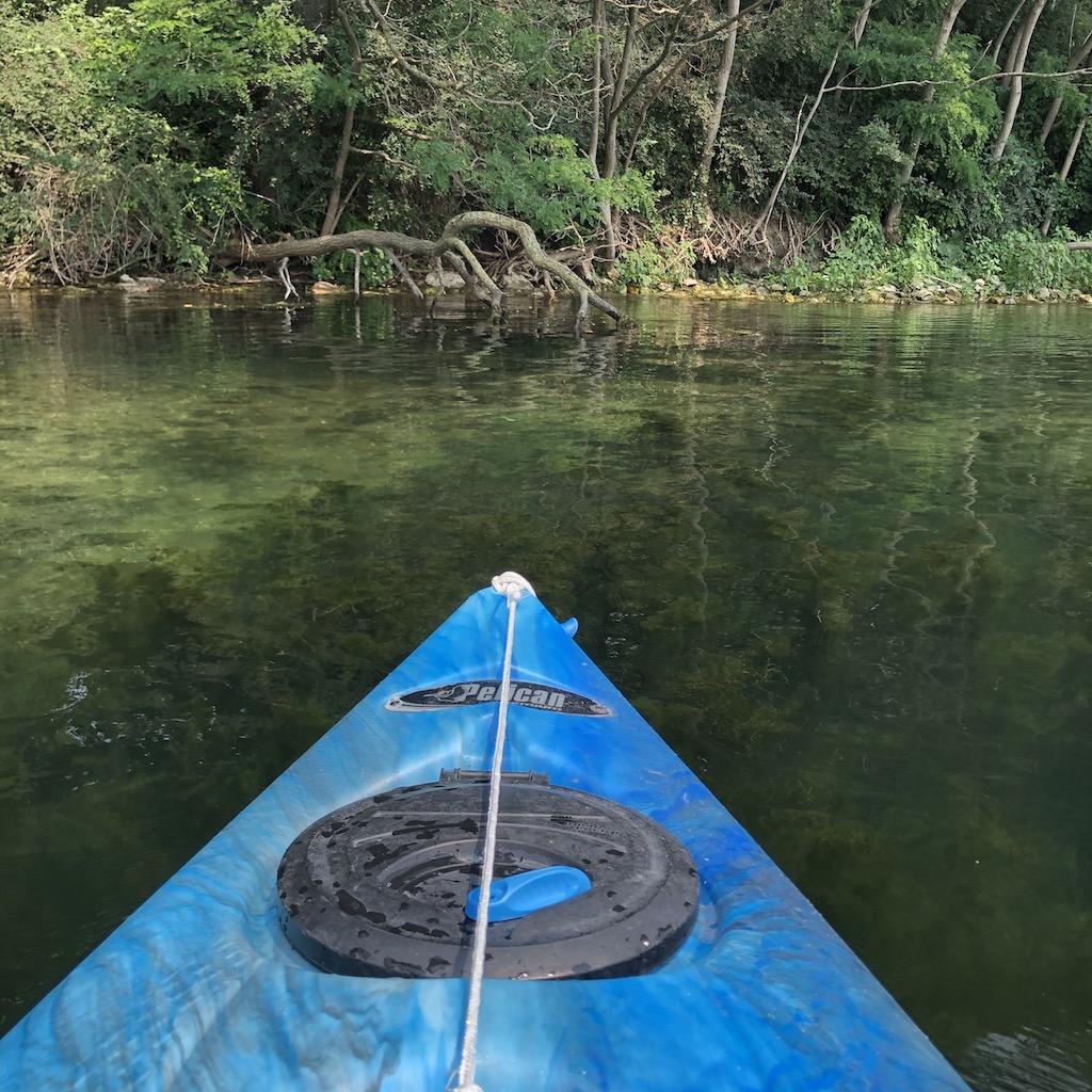 Blue kayak.
