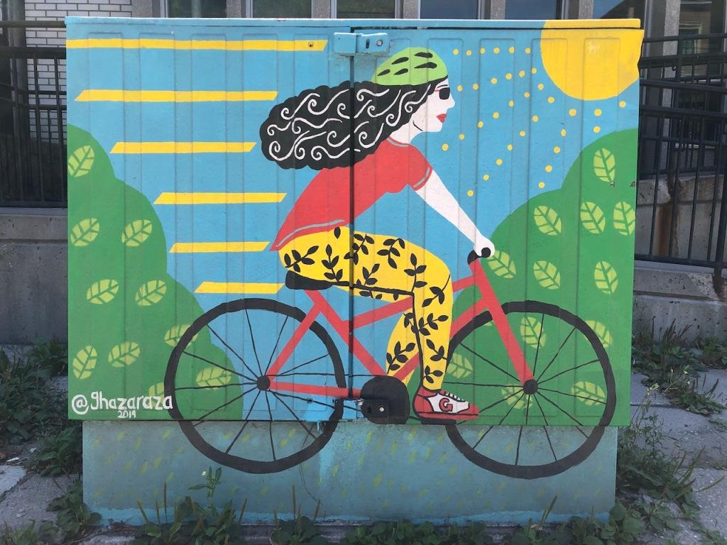 Cyclist painting by Ghazaraza, 2019.