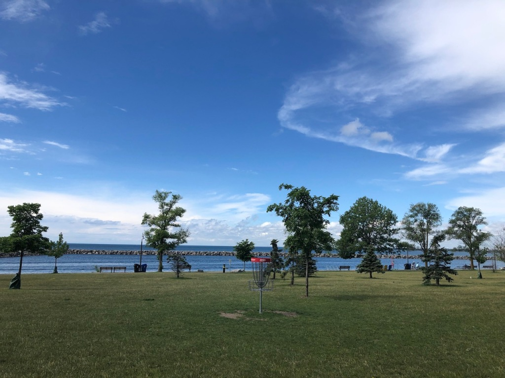 Disc golf course and lake views.