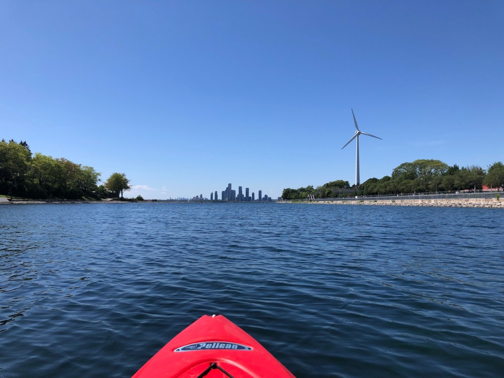 Kayaking towards Humber Bay.