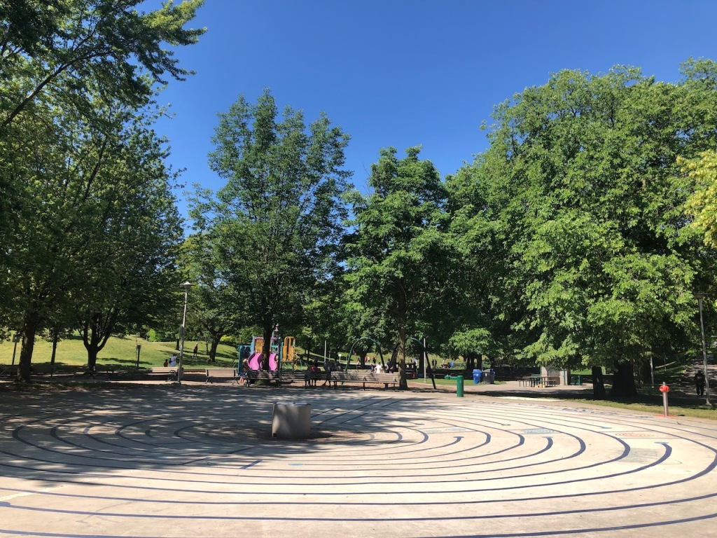 Christie Pits Park labyrinth and playground.
