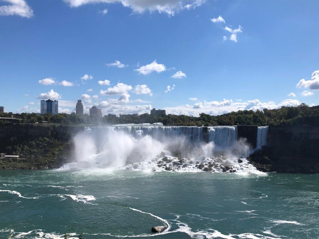 Direct view of American Falls and Bridal Veil Falls.