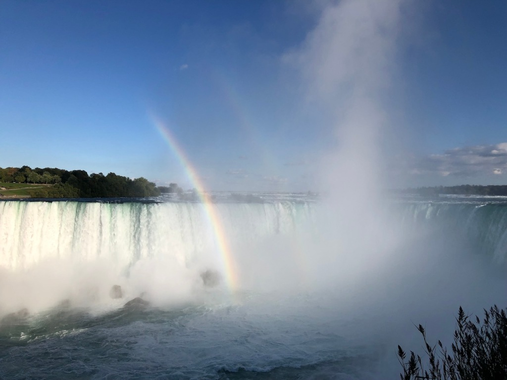 Two rainbows appeared at Horseshoe Falls.
