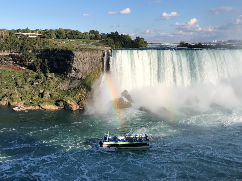 The Maid of the Mist passed by the rainbow as it exited Horseshoe Falls.