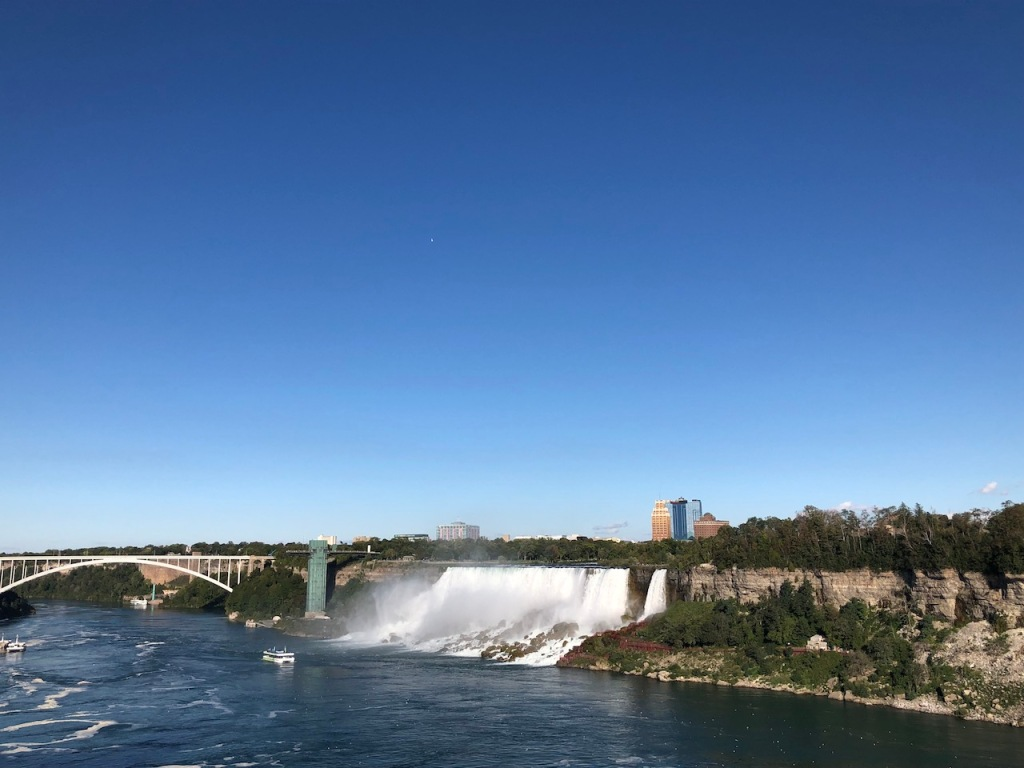 Rainbow Bridge, Observation Tower, American Falls, Bridal Veil Falls and the Maid of the Mist boat.